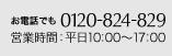 ハニックス お電話でのお問合せ 0120-824-829